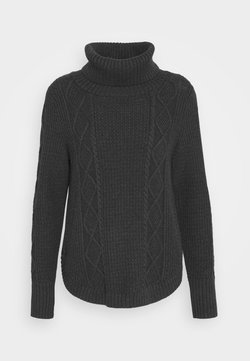 GAP - CABLE T NECK - Stickad tröja - charcoal