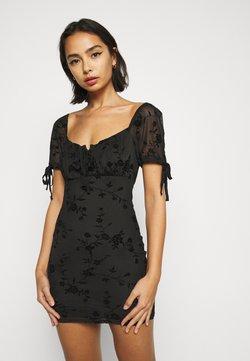 Topshop Petite - GYPSY FLOCK DEVORE DRESS - Robe d'été - black