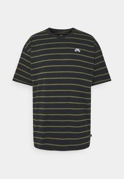 Nike SB - STRIP TEE UNISEX - T-Shirt print - black/khaki