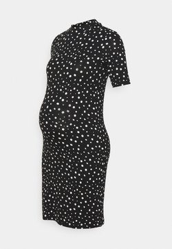 MAMALICIOUS - MLELAINA DRESS - Jerseykleid - black/snow white dots