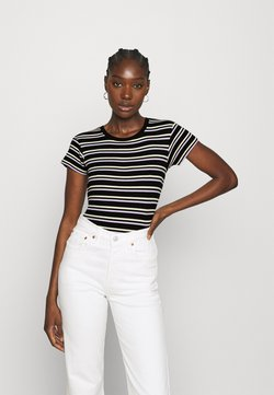 Wrangler - SLIM STRIPE - T-Shirt print - faded black