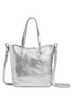 OYSHO - METALLIC LEATHER MINI SHOPPER - Torebka - silver