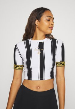 SIKSILK - ATHENA STRIPE BOX FIT CROP TEE - T-Shirt print - black/white