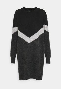 Vero Moda - VMGINGOBLOCK  ONECK DRESS  - Vestido de punto - dark grey melange/black