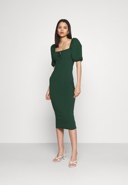 Glamorous - CARE PUFF SHORT SLEEVED MIDI DRESSES WITH SQUARE NECKLINE - Vestido ligero - forest green