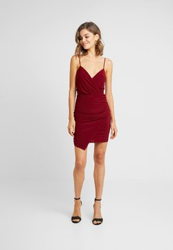 Missguided - SLINKY WRAP OVER MINI DRESS - Etuikleid - burgundy