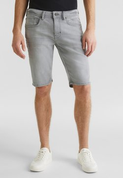 Esprit - SUPERSTRETCH-JEANSSHORTS MIT USED-WASCHUNG - Jeansshort - grey light washed