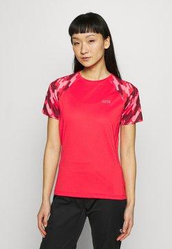 Gore Wear - DAMEN TRAIL TRIKOT KURZARM - T-Shirt print - hibiscus pink/chestnut red