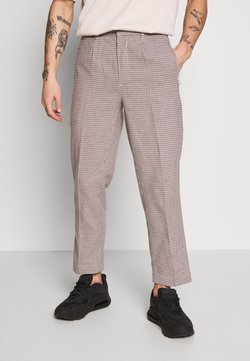 Bellfield - CROPPED TAILORED HOUNDSTOOTH TROUSER - Trousers - mushroom