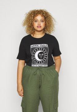 Pieces Curve - PCSASELINE TEE  - T-Shirt print - black/bright white