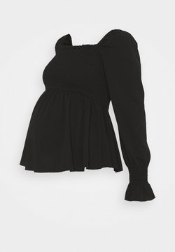 New Look Maternity - SHIRRED PEPLUM - Camiseta de manga larga - black