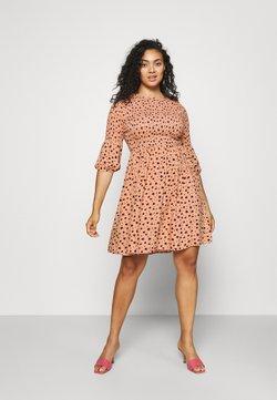 Glamorous Curve - SMOCKED BUBBLE SLEEVE DRESSES WITH ROUND NECK - Freizeitkleid - peach