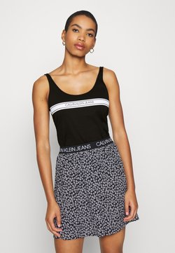 Calvin Klein Jeans - STRIPE LOGO SCOOP NECK TANK - Débardeur - black