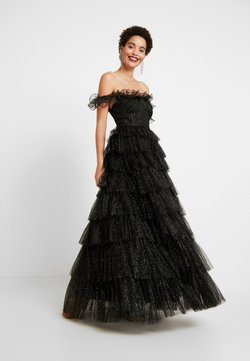 Maya Deluxe - GLITTER BARDOT MAXI DRESS WITH TIERED SKIRT - Robe de cocktail - black