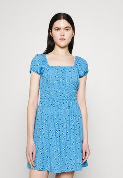 Cotton On - FRANKIE PUFF SLEEVE SHIRRED FIT AND FLARE - Freizeitkleid - riddle ditsy collegiate blue