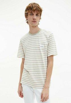 Calvin Klein - T-Shirt print - stripe bleached stone white