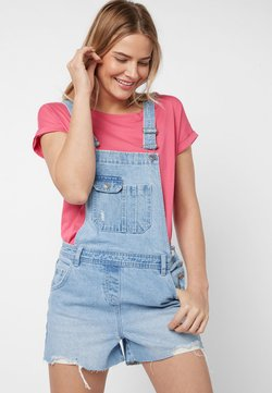 Next - MID BLUE DUNGAREE SHORTS - Tuinbroek - mottled blue