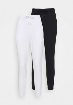 Even&Odd Petite - 2 PACK - Pantalones deportivos - white/black
