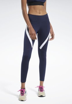 Reebok - WORKOUT READY VECTOR LEGGINGS - Tights - blue