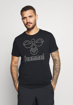 Hummel - HMLPETER  - Printtipaita - black/bone white
