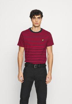 Lyle & Scott - MULTI STRIPE - T-Shirt print - dark navy/chilli pepper red