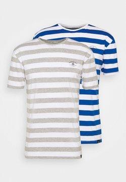 Newport Bay Sailing Club - BOLD HORIZONTAL STRIPE 2 PACK - T-Shirt print - grey marl/mid blue