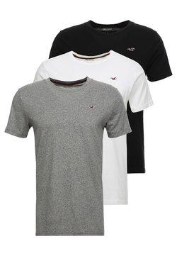 Hollister Co. - CREW CHAIN 3 PACK - T-shirt basique - black/white/grey
