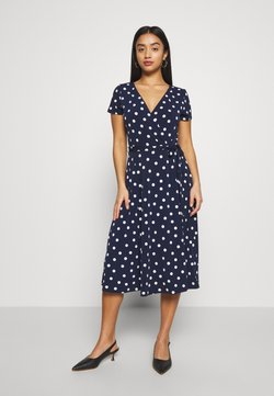 Wallis Petite - SPOT WRAP CAP SLEEVE DRESS - Vestido ligero - ink