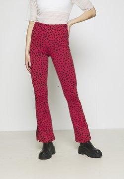 Colourful Rebel - MEVY LEOPARD FLARE PANTS WOMEN - Stoffhose - black
