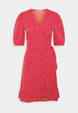 ONLY - ONLSWEETHEART WRAP FRILL DRESS - Kjole - red/cloud dancer
