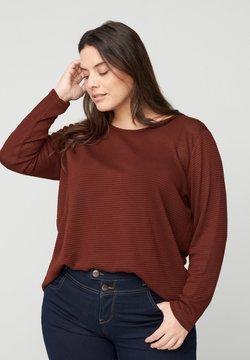 Zizzi - MIT RUNDHALSAUSSCHNITT - Bluse - brown