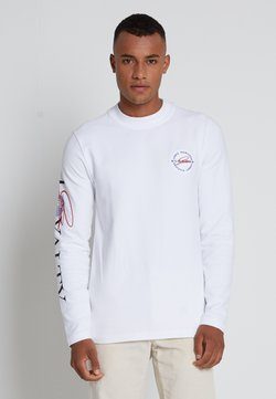 Tommy Hilfiger - LEWIS HAMILTON UNISEX MOCK NECK LOGO TEE  - T-shirt z nadrukiem - white