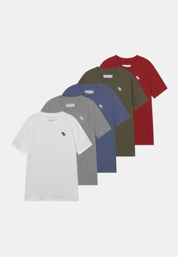 Abercrombie & Fitch - CREW 5 PACK - T-shirt basic - grey/red/white/green/blue