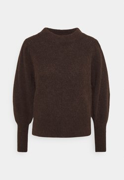Selected Femme - SLFLINNA O-NECK - Strickpullover - coffee bean/melange