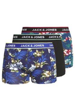 Jack & Jones - JACFLOWER TRUNKS 3 PACK - Shorty - black/bardaboes cherry/maritime blue