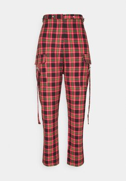 The Ragged Priest - CHECK PANTS WITH EYELET STRAPS AND BUCKLES - Pantalon classique - red/multi