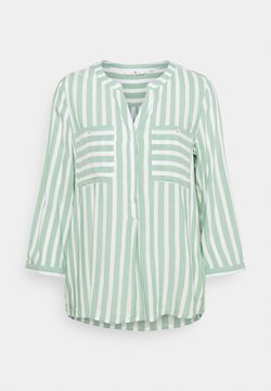 TOM TAILOR - Bluse - green/offwhite