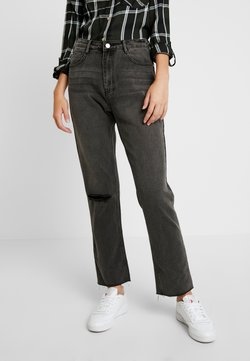Missguided Tall - WRATH HIGH WAISTED DOUBLE SLIT RIP STRAIGHT LEG WASHED - Straight leg jeans - washed grey