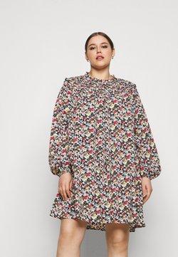 Missguided Plus - FLORAL HIGH NECK DRESS - Freizeitkleid - black