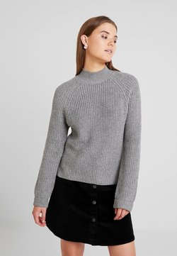 Noisy May - NMSIESTA HIGH NECK CROPPED - Neule - medium grey melange
