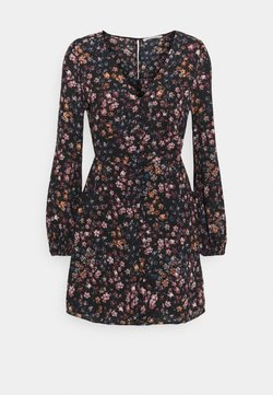Abercrombie & Fitch - DRAMA BUTTON MINIDRESS - Freizeitkleid - black/multi