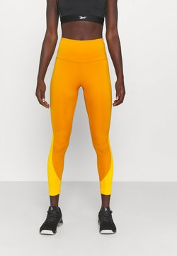 Reebok - RIBBED HIGH WAISTED WORKOUT READY SPEEDWICK REECYCLED - Tights - radiant ochre