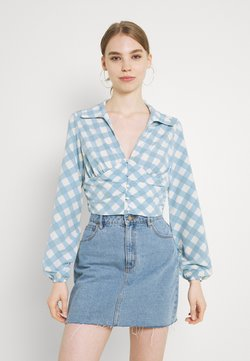 Glamorous - OPEN COLLAR PUFF SLEEVE RUCHED CROP BLOUSE - Blouse - blue