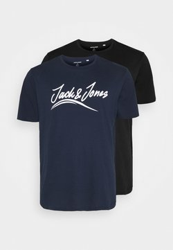 Jack & Jones - JORFLEXER 2 PACK - T-shirt imprimé - black/navy blazer