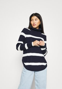 GAP - CABLE T NECK - Strickpullover - navy/white