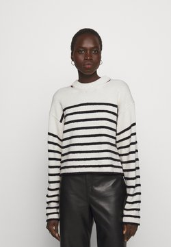 Proenza Schouler White Label - STRIPED BOUCLE  - Strickpullover - off white/navy