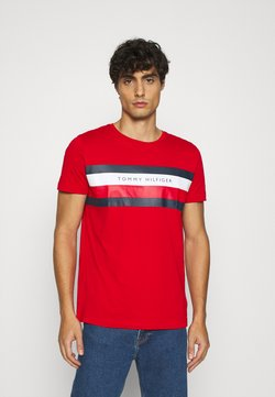 Tommy Hilfiger - STRIPE TEE - T-shirt imprimé - red