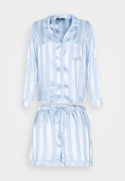 Missguided - STRIPED SHIRT AND SHORTS SET - Pyjama - blue