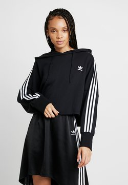 adidas Originals - ADICOLOR CROPPED HODDIE SWEAT - Kapuzenpullover - black