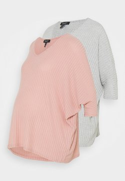New Look Maternity - BRUSHED 2 PACK - Camiseta de manga larga - light grey/rose